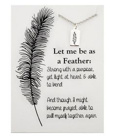 Sterling Silver Be As a Feather Pendant Necklace & Card #zulily #zulilyfinds