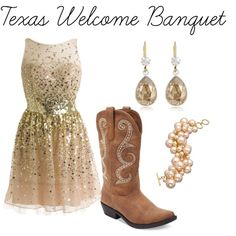 This outfit would look great at either dinner (the Alumnae dinner is full of bling) but we think this will fit in better with the more formal Texas Welcome Banquet! by alphadeltapi on Polyvore