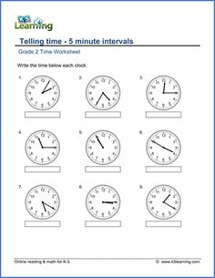 2nd Grade Math Worksheets: Telling Time | K5 Learning