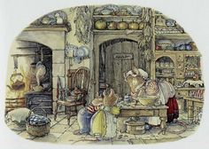 Lady Woodmouse was busy making caraway biscuits in the kitchen.