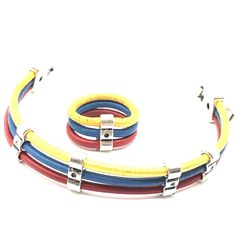 0dc148813222 Leather bracelet with the Venezuelan flag. Pulsera en cuero ...