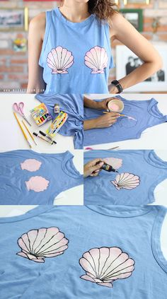 Access the link and watch the video with the full tutorial of this mermaid t-shirt! DIY T-shirt mermaid Mermaid Crafts, Mermaid Diy, Diy Clothes Videos, Clothes Crafts, Diy Clothes Refashion, Diy Clothing, Diy Fashion, Ideias Fashion, Fashion Trends