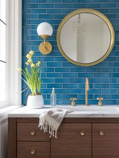 8 Must Have Fireclay Tile Colors For Midwest Modern Interior Design Bathroom Colors, Bathroom Styling, Decor, Bathrooms Remodel, Bathroom Interior Design, Bathroom Decor, Round Mirror Bathroom, Bathroom Design, Traditional Bathroom
