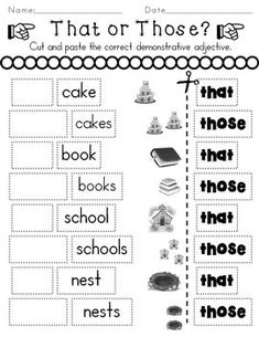 Determiners Demonstratives by Rock Paper Scissors English Grammar For Kids, Teaching English Grammar, English Worksheets For Kids, English Lessons For Kids, Kids Math Worksheets, 1st Grade Worksheets, English Activities, Free Printable Worksheets, Hindi Worksheets