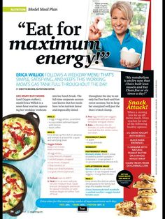 Here's my meal plan feature in this month's Oxygen Magazine.  I approach my meal plan with an understanding that macro nutrients (protein/carbs/fats) are the building blocks of a solid diet. I NEVER count calories. I have a list of foods by macro nutrient that I like to eat, and are excellent sources of that macro. I then ensure I'm pairing protein + carbs at EVERY meal/snack, and add in health.