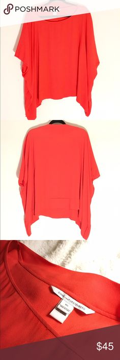 """DVF """"New Hanky"""" Blood Orange Blouse This flowy blood orange DVF blouse is perfect for a warm spring or summer day and it's in great condition. I only wore it once. It's 55% viscose and 45% rayon. Please note that this is dry clean only and the tag states """"do not steam"""". Diane von Furstenberg Tops Blouses"""