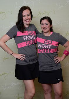 Go Fight Cure! A lovely doubles duo at the Vera Bradley Foundation for Breast Cancer Classic Women's Golf and Tennis Tournament.