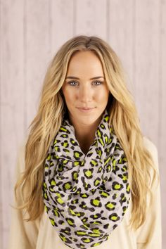 Leopard Infinity Scarf Loop Women's Circle Scarf  Animal Print Scarf White Black and Light Neon