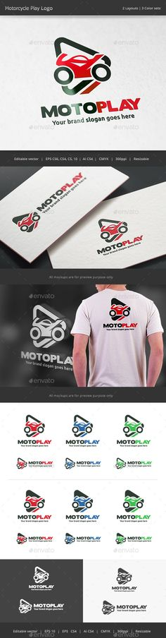 Motorcycle Play Logo by WheelieMonkey Files format : EPS 10, EPS CS, EPS CS4, EPS CS6, AI CS4 Color mode : CMYK Resolution : 300PPI  Resizable Free font used: boris