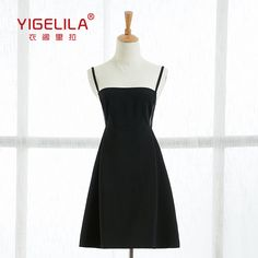 2cf6359775d9 ... Buy YIGELILA Brand 61104 Women Spaghetti Strap Dress Summer Sexy Solid  Black A line Dresses from Reliable dresses less suppliers on YIGELILA store