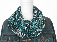Blue Abstract Scarf Teal Olive Green Black Ivory Turquoise - Infinity Scarf - Circle Scarf by ModaBellaScarves on Etsy