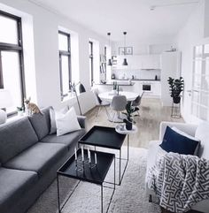 Arq 🤗 Small Apartment Interior, Interior Design Living Room, Living Room Decor, Condo Living, Apartment Living, Home Room Design, House Design, Small Appartment, Open Plan Kitchen Living Room