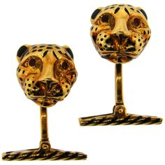 David Webb Enamel Yellow Gold Panther Cufflinks   From a unique collection of vintage cufflinks at https://www.1stdibs.com/jewelry/cufflinks/cufflinks/