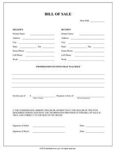 Bill Of Sale Form | General Bill Of Sale Form
