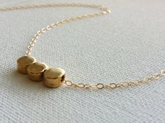 Gold Necklace  Round Necklace  Gold Nugget by HLcollection on Etsy, $25.00