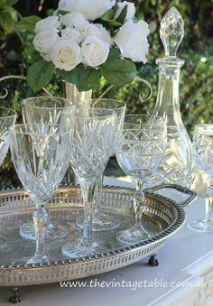 Authentic vintage full lead cut crystal wine glasses, vintage silver trays &…
