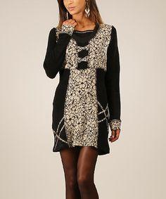 Look at this #zulilyfind! Black & Beige Legen Wool-Blend Dress #zulilyfinds
