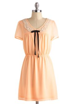 $59.99 Peach of Mind Dress - Orange, Tan / Cream, Peter Pan Collar, Short Sleeves, Short, Bows, Casual, A-line, Crochet, Daytime Party, Vintage Inspired, Pastel, Spring, V Neck