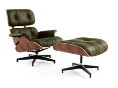 Palermo Olive and Rosewood Palisander Eames Lounge Chair and Ottoman | Rove Concepts