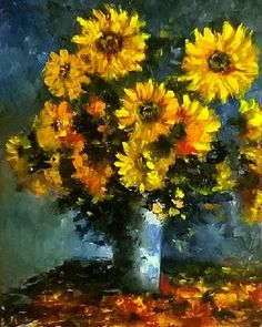 napraforgo Sunflower Canvas Paintings, Floral Paintings, Oil Painting On Canvas, Watercolour Painting, Oil Paintings, Watercolor Flowers, Painting & Drawing, Pottery Painting, Pottery Art
