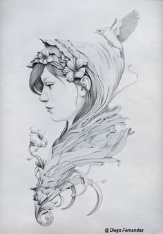 DRAWING ART WOMAN FLOWERS AND BIRD