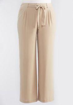 Cato Fashions Tie Waist Wide Leg Pants-Plus #CatoFashions