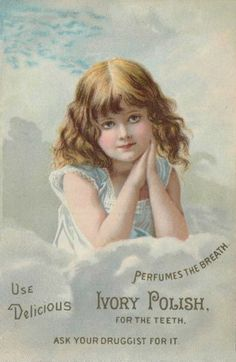 Antique/vintage Ivory Polish dentifrice ad. Little girl in the clouds.