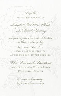 Tall Rose Letterpress Wedding Invitation | Paper Source