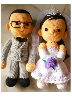 I've been crocheting quite a number of wedding doll set. Here's my latest set ordered by my friend for her sister's wedding. Amigurumi Doll, Amigurumi Patterns, Doll Patterns, Knitting Patterns, Crochet Patterns, Crochet Doll Pattern, Crochet Dolls, Crochet Hats, Ravelry