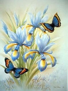 easy canvas paintings for beginners step by step Butterfly Pictures, Butterfly Painting, Butterfly Flowers, Flower Pictures, Beautiful Butterflies, Flower Art, Beautiful Flowers, Decoupage Vintage, Decoupage Paper