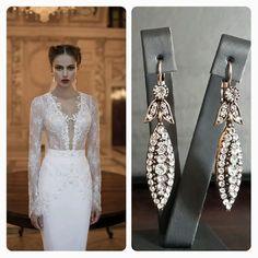 Berta Bridal Wedding Dress & BrideIstanbul Earrings #bride #bridal #wedding #weddingdress #abiye #mezuniyet #earrings #swarovski #pearl #inci #küpe #gelinlik #bertabridal #brideistanbul #etsy
