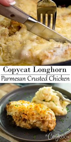 This Copycat Longhorn Parmsan Crusted Chicken recipe has an easy marinade and a delicious Parmesan Crust that's baked on top. It tastes JUST like the restaurant version! Parmesean Crusted Chicken, Longhorns Parmesan Crusted Chicken Recipe, Longhorn Chicken Recipe, Longhorn Copycat Recipes, Longhorn Steakhouse Recipes, Chicken Recipes Video, Chicken Parmesan Recipes, Recipe Chicken, My Favorite Food