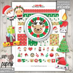 Christmas Stickers, Planner Stickers, Christmas Planner Stickers, Kawaii Stickers, Christmas Planner, Planner Accessories, Christmas Time