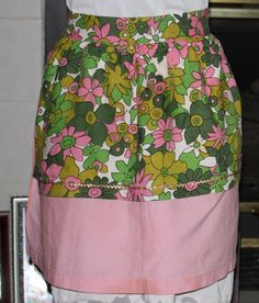 Vintage Half Apron Reversible  Pink with by ilovevintagestuff