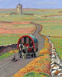 Travellers - Ireland | Artist Unknown | Gypsy Vardo Wagon Caravan <O>