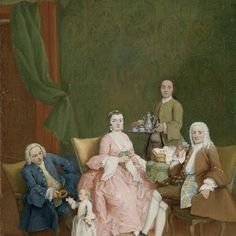 Portrait of a Venetian Family with a Manservant Serving Coffee, Pietro Longhi, c. 1752 - Rijksmuseum