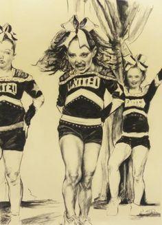 "Saatchi Art Artist Stephanie J Ryan; Drawing, ""Cheer Girls"" #art"