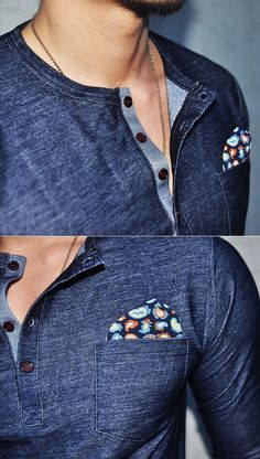 3831e632a92f Tops    Span Denim Handkerchief Henley-Tee 64 - Mens Fashion Clothing For  An Attractive Guy Look
