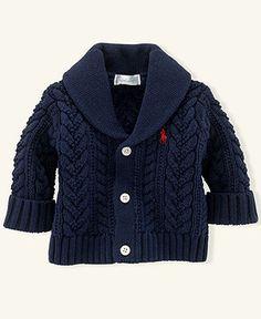 Ralph Lauren Baby Sweater, Baby Boys Aran Cable Shawl-Collar Cardigan - Kids Baby Boy (0-24 months) - Macy\'s