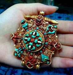 Boho turquoise necklace/brooch