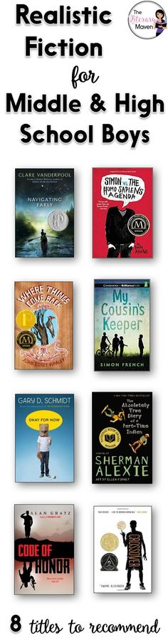 Boys can be pickier customers than girls when it comes to choosing a book to read. They need just the right book to hook them. Here's 8 realistic fiction titles, separated into middle school and high school, that I've recently read and would recommend for boys. Click the title of each to read my full review and ideas for using it in the classroom.