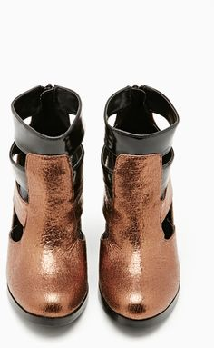 NASTY GAL Gold Shoe Cult Triton Bootie