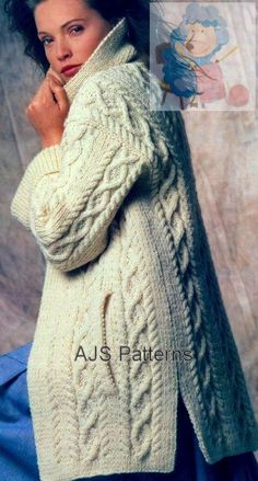 This PDF Knitting pattern is for this fabulous Aran Jacket in a Cabled Design with side Slit Pockets and a snug Collar.    Knitted in Aran
