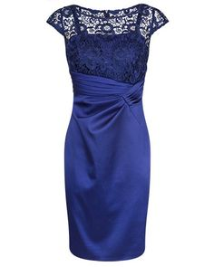 Sapphire Guipure Lace and Stretch Satin Dress