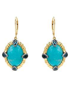 Premier Gems Silver Amazonite & London Blue Topaz Earrings