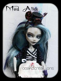 """""""Mad Alice..in wonderland"""" OOAK custom repaint & reroot Monster High doll art"""