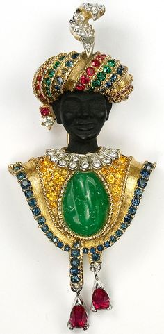 Boucher Blackamoor with Turban Inset Jade and Ruby Pendants Pin Clip