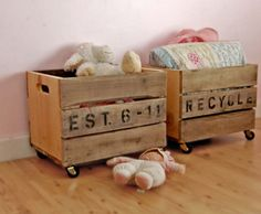 rolling crates to slide under bed.for toys, clothes in closet. 50 Clever DIY Storage Ideas to Organize Kids' Rooms - DIY & Crafts