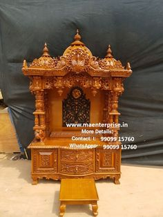 Wooden Temple For Home, Home Temple, Mandir Design, Pooja Room Design, Temple Drawing, Pooja Mandir, Temple Design, Lion Pictures, Pooja Rooms