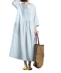 Yesno J93 Women's Long Dresses Casual Large Skirt 3/4 Sle...   Click through for additional information on the product and how to purchase.